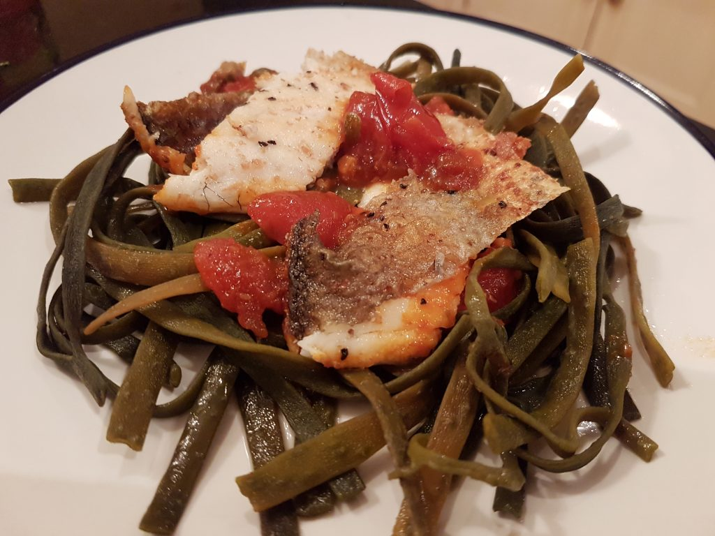 fish and I Sea Pasta dish. Burnt picture